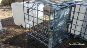 Pulling out the plastic IBC isn't mandatory but really makes cutting the metal bars quick and easy.